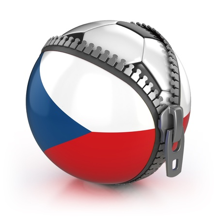Czech Republic football nation - football in the unzipped bag with Czech flag print Stock Photo - 12331152