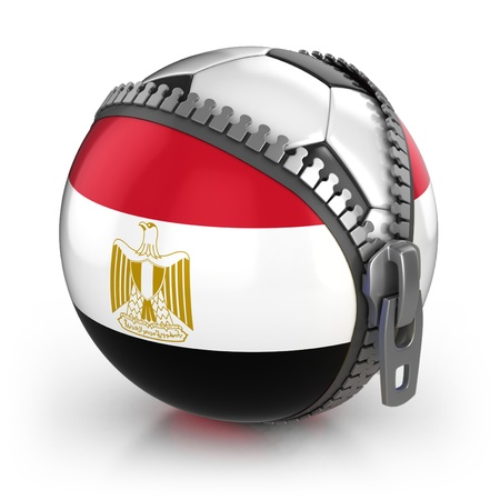 flag of egypt: Egipto, pa�s de f�tbol - f�tbol en la bolsa descomprimido con la impresi�n de bandera egipcia Foto de archivo