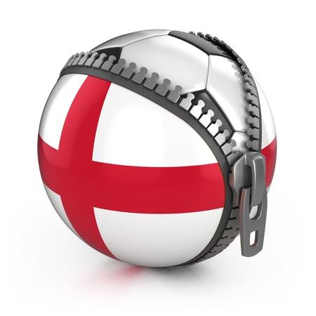 잉글랜드 축구 국가 - 영국 국기 프린트가 압축 해제 된 부대에있는 축구