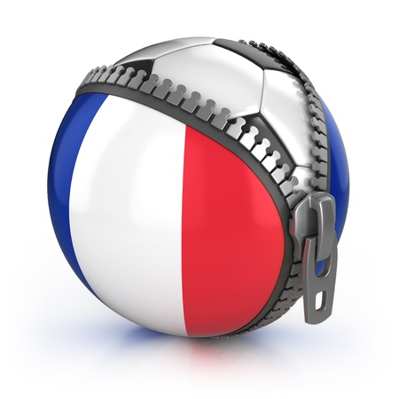 zipper: France football nation - football in the unzipped bag with French flag print  Stock Photo