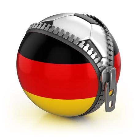 bandera alemania: Alemania, pa�s de f�tbol - f�tbol en la bolsa descomprimido con la impresi�n de bandera alemana Foto de archivo