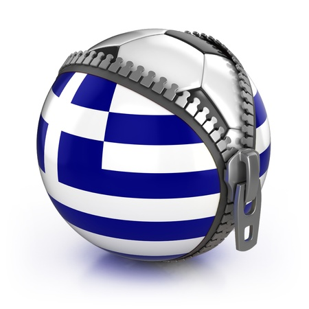 greece flag: Greece football nation - football in the unzipped bag with Greek flag print  Stock Photo