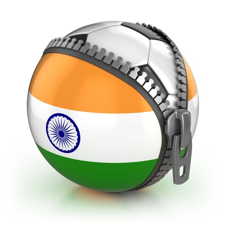 unzipped: India football nation - football in the unzipped bag with Indian flag print Stock Photo