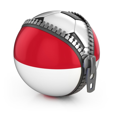 Indonesia football nation - football in the unzipped bag with Indonesian flag print  photo