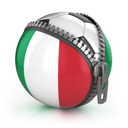 Italy football nation - football in the unzipped bag with Italian flag print