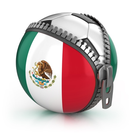 mexico flag: Mexico football nation - football in the unzipped bag with Mexican flag print  Stock Photo