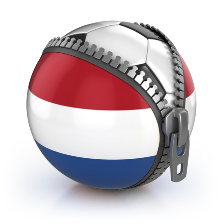 unzipped: Netherlands football nation - football in the unzipped bag with Dutch flag print  Stock Photo