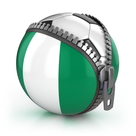 Stock Photo: Nigeria football nation - football in the unzipped bag with Nigerian flag print Image ID: 73316110   Release  information: NA   Copyright: koya979   Keywords: 3d, abstract, africa, association, background, bag, ball, champion, championship,  photo