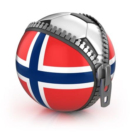 Norway football nation - football in the unzipped bag with Norwegian flag print  photo