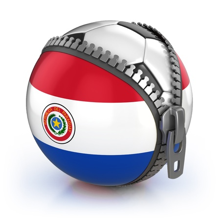 Paraguay football nation - football in the unzipped bag with Paraguay flag print Stock Photo - 12331226
