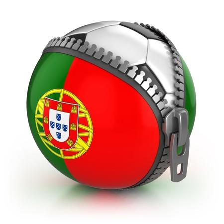 bandera de portugal: Portugal, pa�s de f�tbol - f�tbol en la bolsa descomprimido con la impresi�n de la bandera de Portugal Foto de archivo