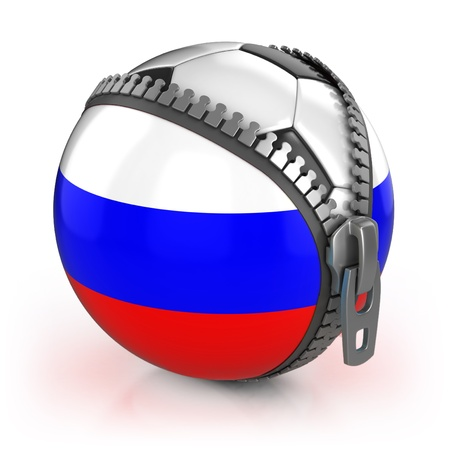 unzipped: Russia football nation - football in the unzipped bag with Russian flag print