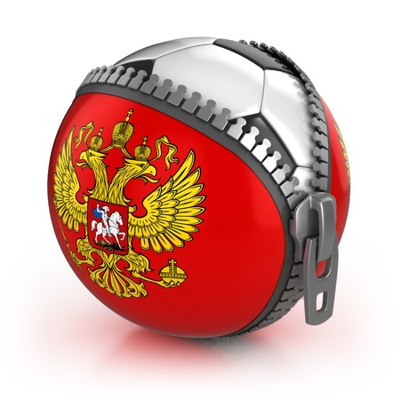 unzipped: Russia football nation - football in the unzipped bag with Russian coat of arms print  Stock Photo