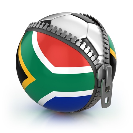 unzipped: South Africa football nation - football in the unzipped bag with South African flag print  Stock Photo