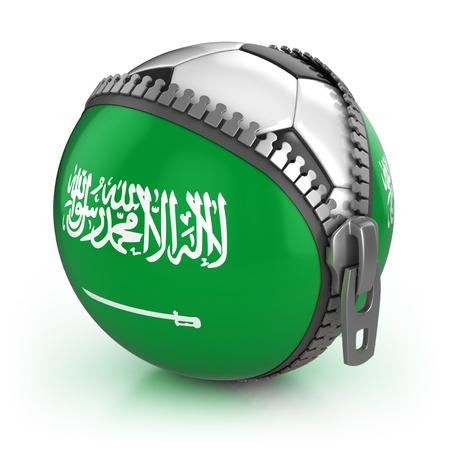 unzipped: Saudi Arabia football nation - football in the unzipped bag with Saudi Arabia flag print  Stock Photo