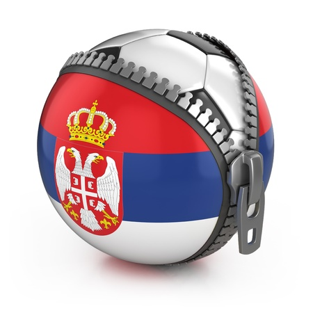 Serbia football nation - football in the unzipped bag with Serbian flag print Stock Photo - 12331269
