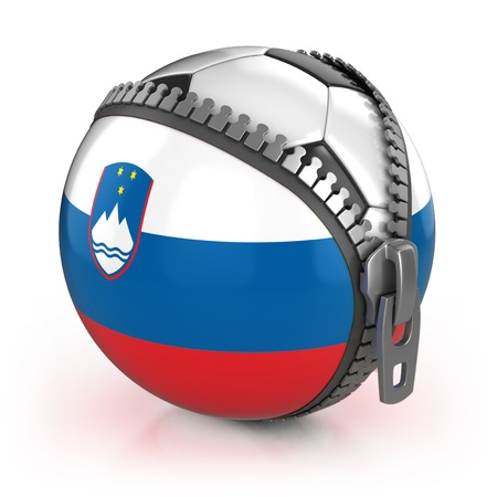 unzipped: Slovenia football nation - football in the unzipped bag with Slovenian flag print  Stock Photo