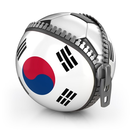 South Korea football nation - football in the unzipped bag with South Korea flag print  photo