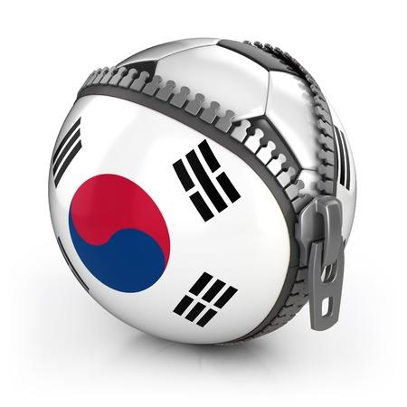 unzipped: South Korea football nation - football in the unzipped bag with South Korea flag print