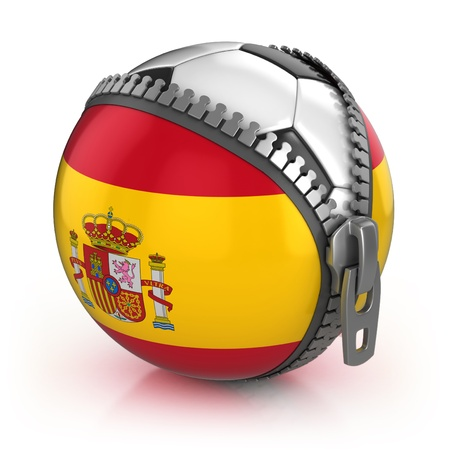spanish flag: Spain football nation - football in the unzipped bag with Spanish flag print