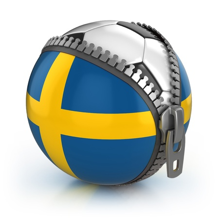 Sweden football nation - football in the unzipped bag with Swedish flag print  photo