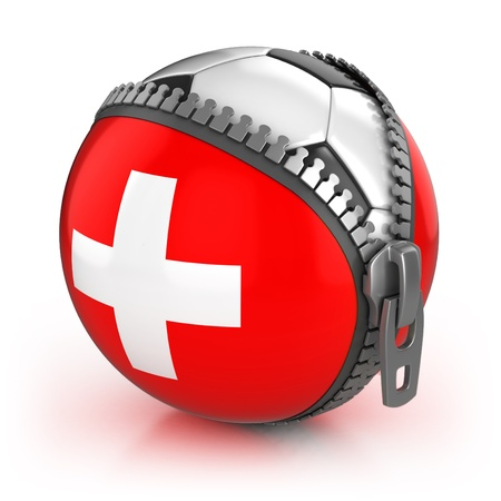 unzipped: Switzerland football nation - football in the unzipped bag with Swiss flag print
