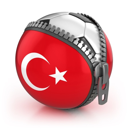 turkish flag: turkey football nation - football in the unzipped bag with turkey flag print  Stock Photo