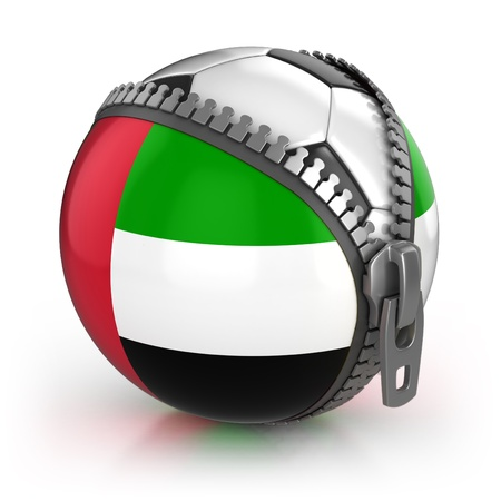 3d ball: United Arab Emirates football nation - football in the unzipped bag with UAE flag print