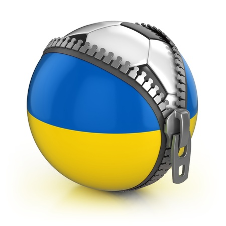 supporter: Ukraine football nation - football in the unzipped bag with Ukainian flag print