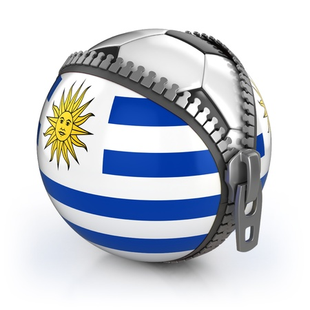uruguay: Uruguay football nation - football in the unzipped bag with Uruguay flag print  Stock Photo