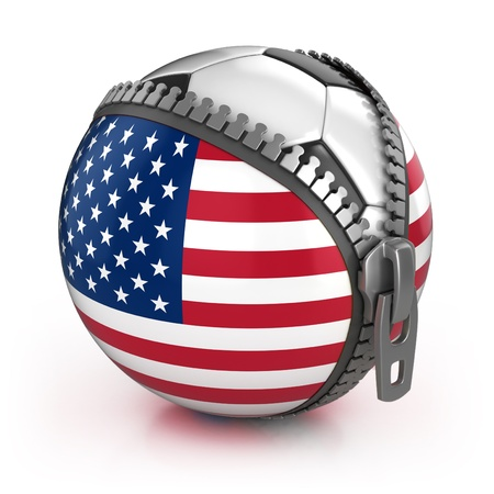 football fan: United States of America football nation - football in the unzipped bag with US flag print Stock Photo
