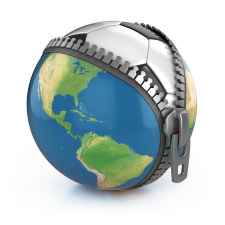 unzipped: planet of football 3d concept - football under unzipped globe  Stock Photo