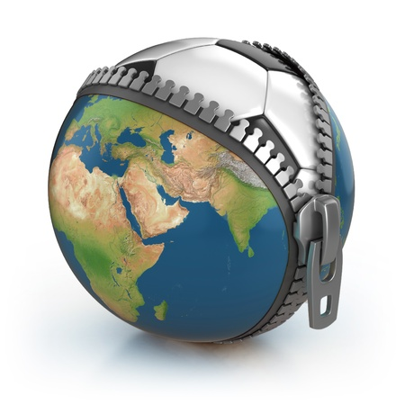 zip: planet of football 3d concept - football under unzipped globe  Stock Photo