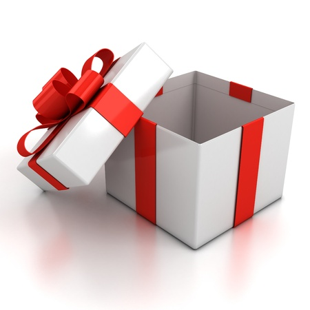 new year s day: open gift box over white background 3d illustration