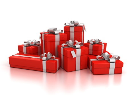 christmas presents: gift boxes over white background 3d illustration