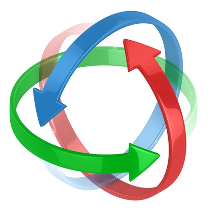 circling: colorful 3d arrows circling around symbolizing protection or motion