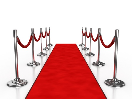 red carpet event: red carpet 3d illustration isolated over white background