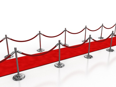 velvet rope: red carpet 3d illustration isolated over white background