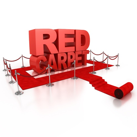 red line: red carpet 3d illustration isolated over white background
