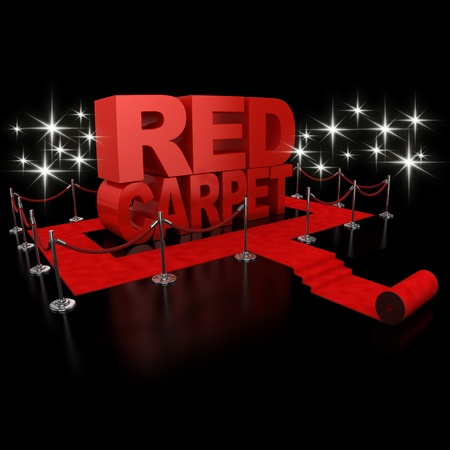 red carpet 3d illustration over over background  illustration