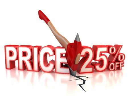 sell off: 25 percent discount 3d concept
