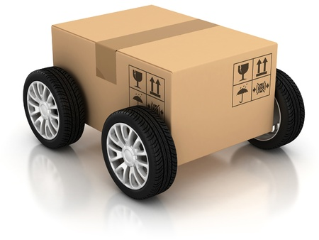 home products: delivery, moving, shipping, transport 3d concept  Stock Photo