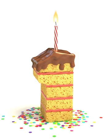 number one shaped chocolate birthday cake with lit candle and confetti  photo
