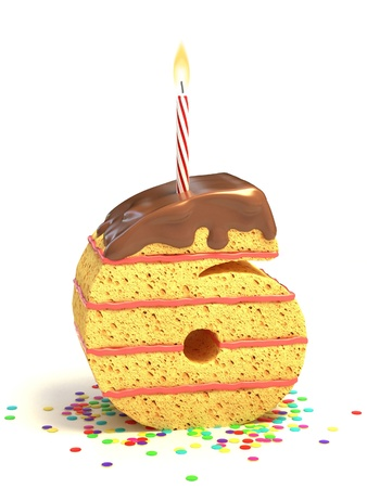 sweet treat: number six shaped chocolate birthday cake with lit candle and confetti