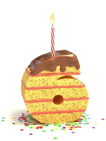 Numero sei di compleanno a forma di torta al cioccolato con candela accesa e coriandoli Archivio Fotografico - 12331637