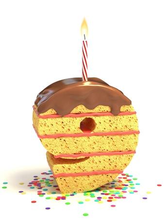 Nummer neun geformte Schokolade Geburtstagstorte mit brennenden Kerze und Konfetti