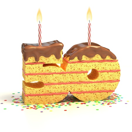 fiftieth: Chocolate birthday cake surrounded by confetti with lit candle for a fiftieth birthday or anniversary celebration