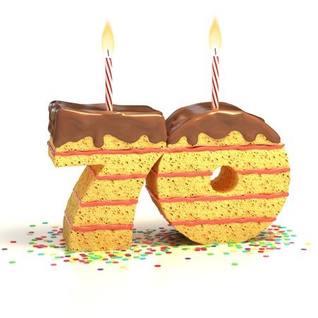 Tort czekoladowy otoczony konfetti z zapalonej świecy na siedemdziesiąte urodziny lub rocznica obchody