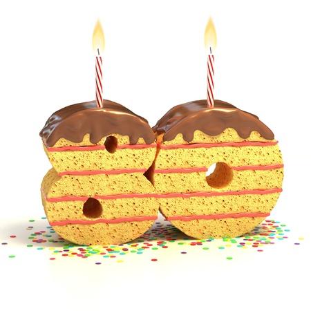 achtzig: Chocolate Birthday Cake von Konfetti umgeben mit brennenden Kerze f�r einen 80. Geburtstag oder Jubil�um