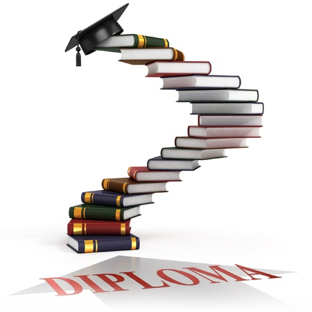 graduation cap on the top of the stairs made of books - diploma 3d concept  Stock Photo
